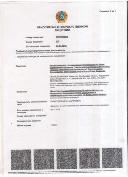 16. Appendix to the State License for pharma activities